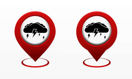 Set of map pointer with cloud and lightning icon. Red map pin. Storm location. Illustration vector