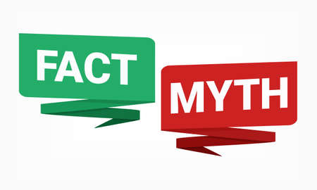 Facts myths sign. True or false facts bubble. Concept of thorough fact-checking or easy compare evidence. Illustration vector