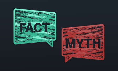 Myths facts sign. Hand drawn speech bubble. True or false. Illustration vector