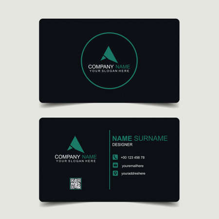 Creative and clean business card template. Minimalist name card. Two sided cards. Illustration vector 向量圖像