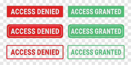 Set of access denied and access granted. Illustration vector