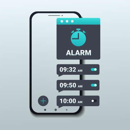 Alarm clock app on smartphone screen. Set up multiple alarm on smart phone. Wake up time settings. Illustration vector Vetores