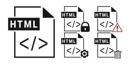 Set of HTML file document. Html icon in trendy flat style isolated on white background. Illustration vector