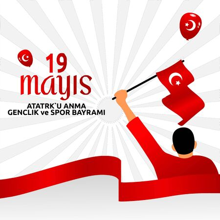 vector 19 mayis Ataturk'u Anma, Genclik ve Spor Bayrami , translation: 19 may Commemoration of Ataturk, Youth and Sports Day, vector design illustration to the Turkish holiday.