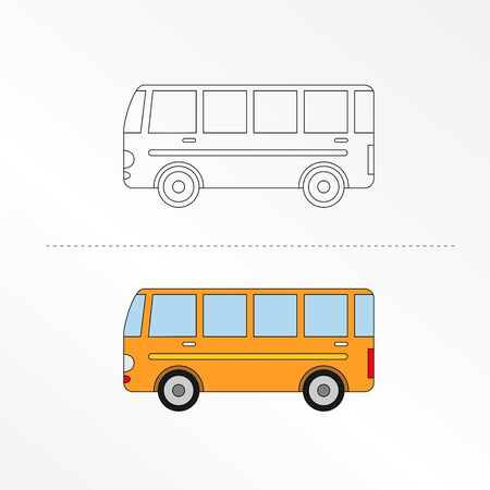 Cute Bus Vector Design Illustration. Coloring book pages for kids. Vektoros illusztráció