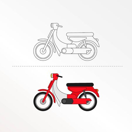 Cute Motorcycle Vector Design Illustration. Coloring book pages for kids.