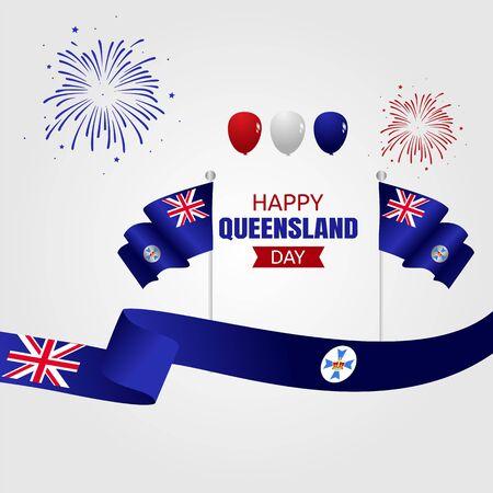 Happy Queensland Day Vector Illustration Vettoriali