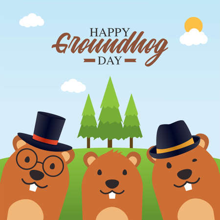 Happy Groundhog Day Vector Illustration. Suitable for greeting card poster and banner
