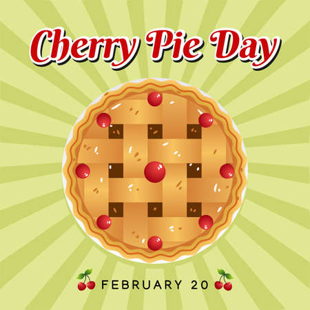 Cherry Pie Day Vector Illustration. Suitable for Greeting Card, Poster and Banner.