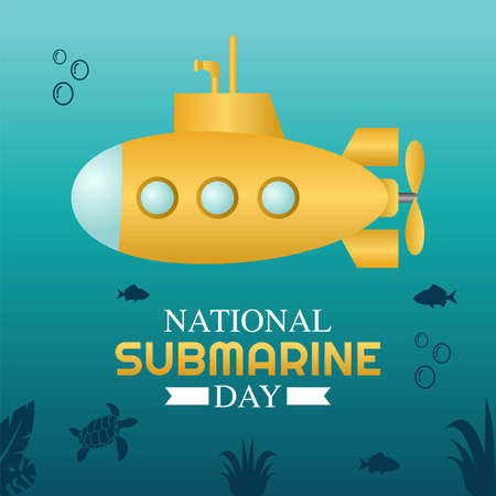 National Submarine Day Vector Illustration. Suitable for greeting card poster and banner.