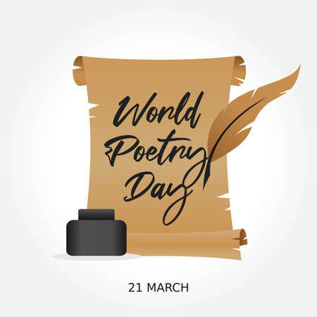 World Poetry Day Vector Illustration. Suitable for greeting card poster and banner. Vecteurs