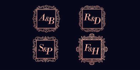 Collection of wedding monogram logos 向量圖像