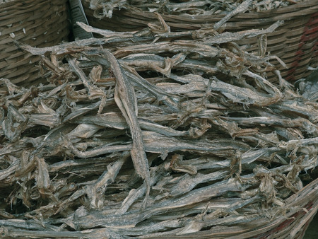 Dry fishes at fish market for sale, India photo