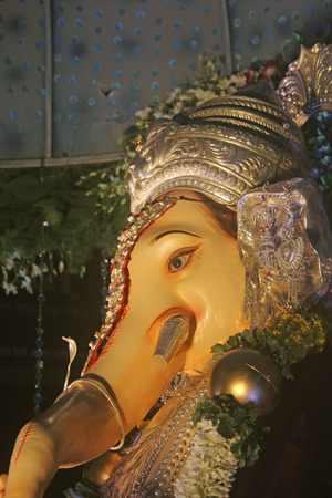 Idol of lord ganesha elephant headed god, Ganpati festival Pune , Maharashtra , India. photo