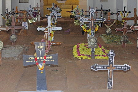 Burials, Catholic cemetery, Velha, Goa, India