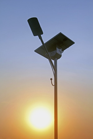 Street Light and solar panel, India photo