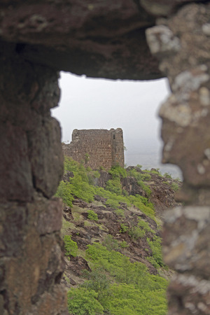 Bastion Malhargad, Sonori Fort, hill fort near Sasvad, Pune, Maharashtra, India. photo