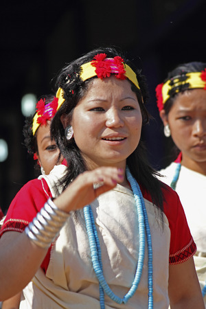 Nyishi tribes, women performing dance at Namdapha Eco Cultural Festival, Miao, Arunachal Pradesh, India