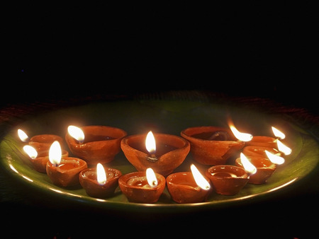 Oil lamps, Diyas, Flames photo