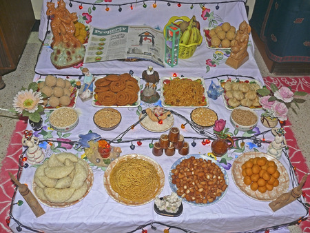 Assorted Diwali sweets and snacks during Diwali Festival, India photo