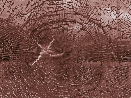 Broken glass of railway window photo