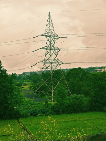 High voltage electricity cable, lines & masts transmission tower, resistors, transformers, energy power line