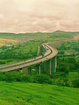 maharashtra: A very tall valley bridge, national Pune_Banglore highway in curved form, Pune, Maharashtra, India