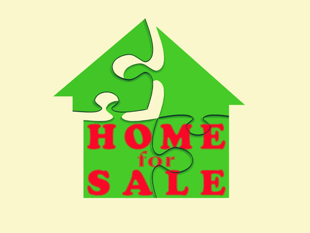 dwell: Home For Sale Signboard, Concept Stock Photo
