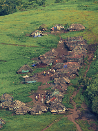 journeying: Top view of an agricultural land and village, Nilkantheshwar, Maharasthra, India
