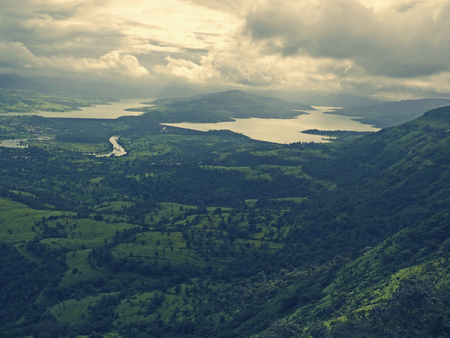 pune: Aerial view of Two dams, Panshet (Tanaji Malusure) & Warasgaon together, Pune, Maharasthra, India