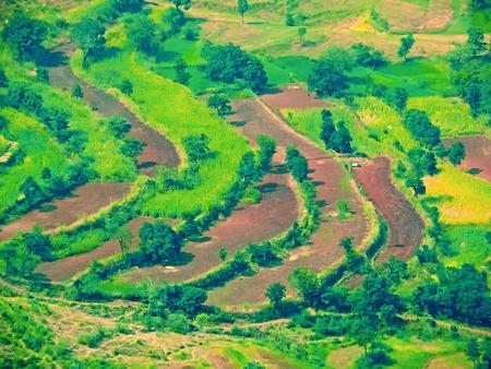 maharashtra: Sahyadri Valley with Village, Panchgani, Satara, Maharashtra, India Stock Photo