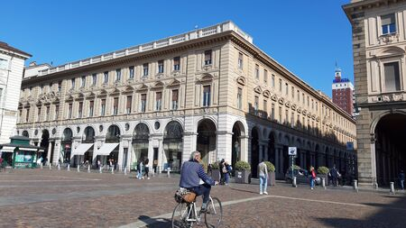 Turin, Italy - 10/24/2019: An amazing caption of Turin city in a beautifull sunny day. Detailed photography of the old buildings in the city center. Reklamní fotografie