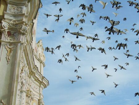 Liguria, Italy - 08032020: Beautiful group of birds flying over the old church in winter days with some clouds in the background.