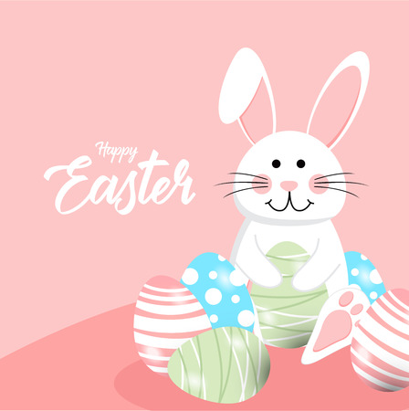 Happy easter rabbit white cute bunny