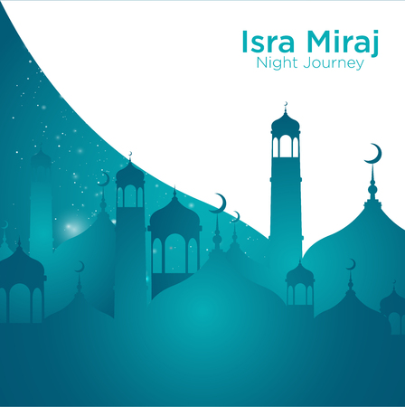 Isra' mi'raj illustration about mohammad prohet in night journey Ilustração