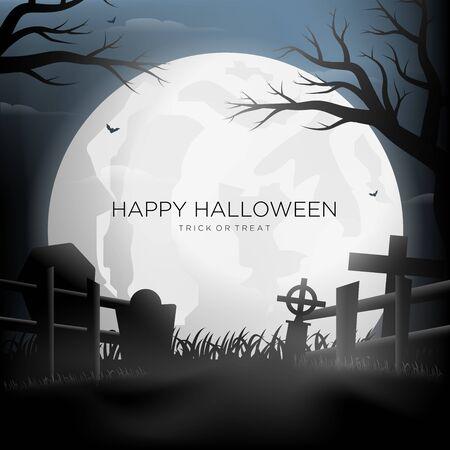 Happy Halloween Silhouette Background Vector