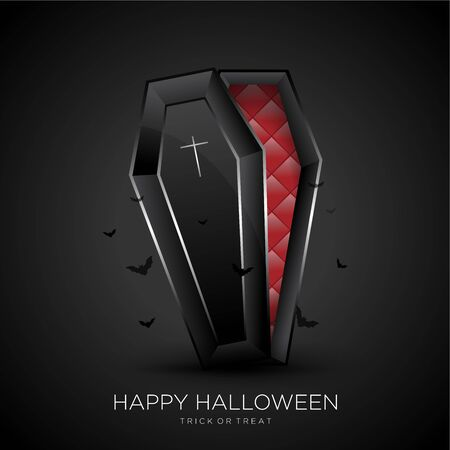 Happy Halloween Background With Black Coffin Illustration