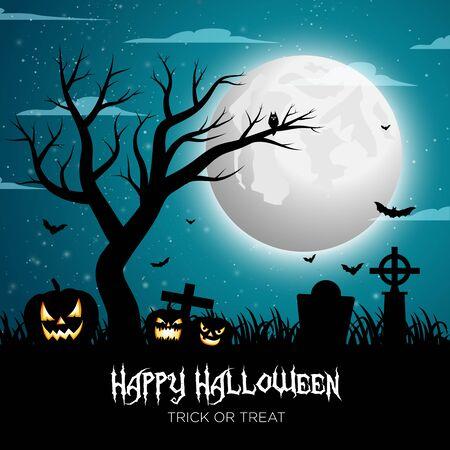 Happy Halloween Pumpkin Background Vector Vetores