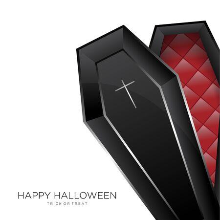 Happy Halloween Background With Black Coffin 向量圖像