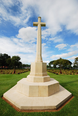 national military cemetery: the graveyard of world war two in kanchanaburi thailand is war cemetery Editorial