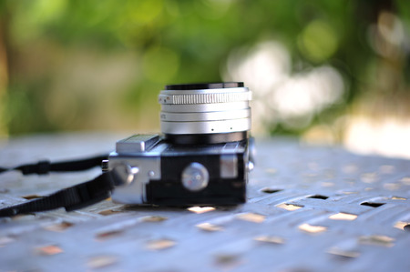 old retro vintage of rangefinder film camera style is the classic object item in past history of photography Stock Photo