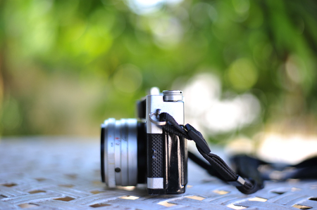 black and white photograph: old retro vintage of rangefinder film camera style is the classic object item in past history of photography Stock Photo