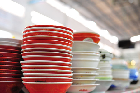 the group of bowl put for sale in the market