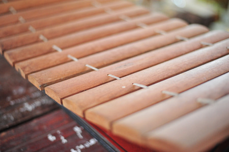 the vintage xylophone is musical instrument of thailand Stock Photo