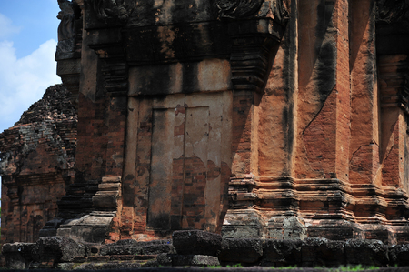 lintel: the stone castle in isan of thailand is the architecture culture old building from cambodia hindu and shiva religion by sandstone and laterite Editorial