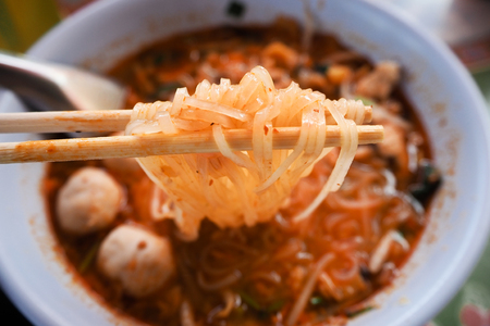 the spicy noodle in bowl is the food of asian so delicious and hot