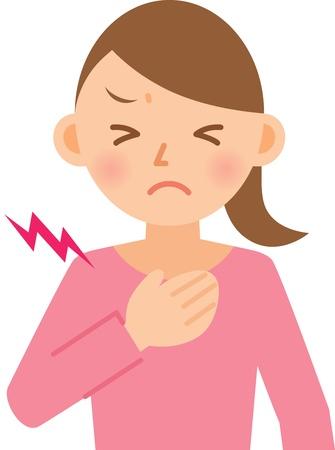 chest pain: woman Illustration