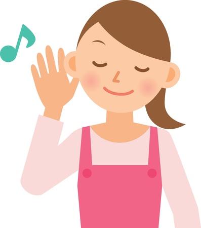 hearing: woman Illustration