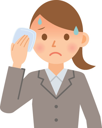 hot temperature: businesswoman sweating Illustration