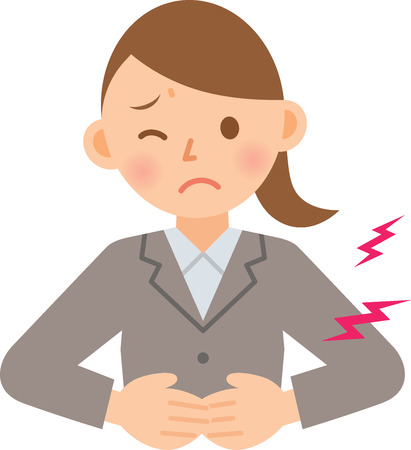 stomach pain: businesswoman having stomachache Illustration